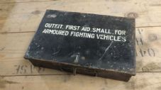 First aid kit.Small for armoured vehicle. April 1945